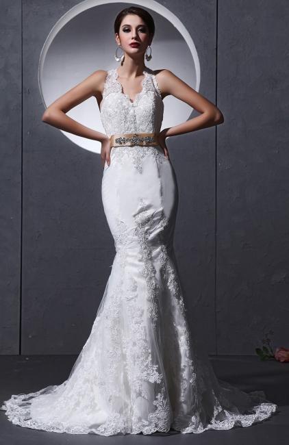 Elegante Weiß Brautkleider Spitze Neckholder Meerjungfrau Brautmoden Hochzeitskleider