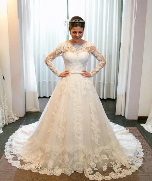 New white wedding dresses lace with sleeves a line bridal gowns cheap