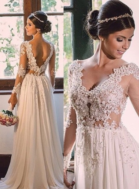 Long Sleeve Wedding Dresses With Lace Chiffon V Neck Wedding Gowns Bridal