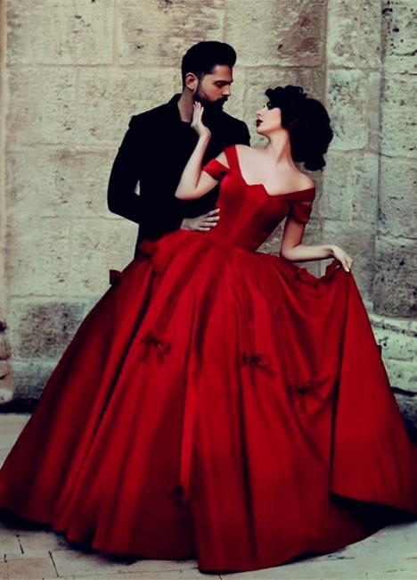Prinzessin Rot Abendkleider Lang Günstig Schulterfrei Abiballkleider Abendmoden