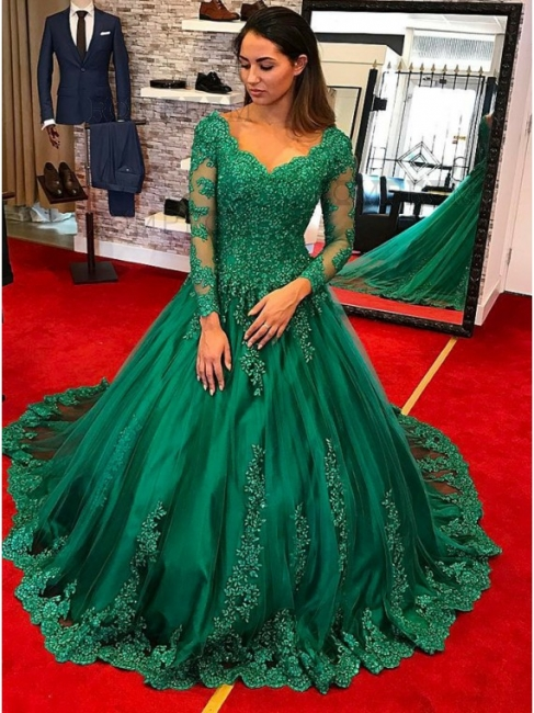 Green Evening Dresses Long With Sleeves Lace A Line Evening Wear Prom Dresses Cheap Online