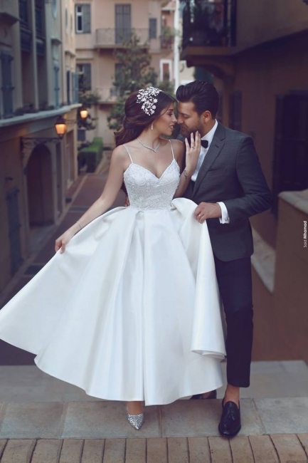 Cheap Wedding Dresses Short A Line Satin Bridal Gowns Online For Wedding