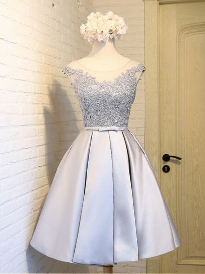 Silver Short Cocktail Dresses Lace Taffeta A Line Prom Dresses Evening Wear