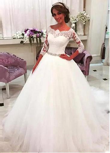 Designer Brautkleid Mit Ärmel | Spitze Hochzeitskleider A Linie
