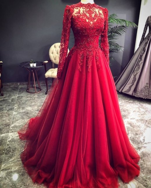 Luxury Red Evening Dresses With Sleeves | Evening wear with lace