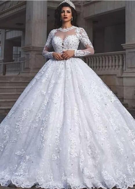 Elegant wedding dresses A line | Lace wedding dresses with sleeves