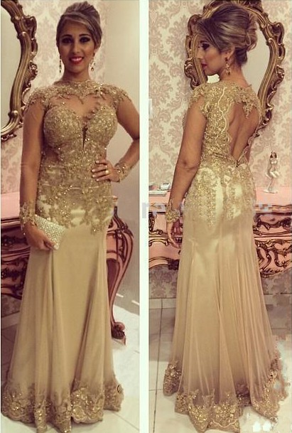 Modern Evening Dresses Long Sleeves Gold Sheath Dresses Prom Dresses Evening Wear