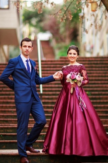 Wine red evening dresses long sleeves with lace satin evening wear prom dresses cheap