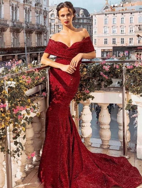 Evening dress long red | Evening dresses with glitter online