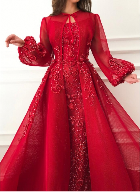 Luxury evening dresses with sleeves | Red evening dress long cheap