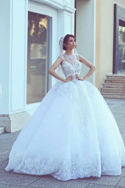 Weiß Duchess Linie Brautkleider Mit Spitze Prinzessin Organza Hochzeitskleider Brautmoden