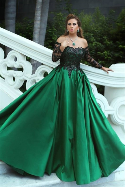 Fashion Evening Dresses Black Long Sleeves A Line Satin Green Evening Wear