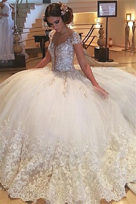 Fashion Prinzessin Weiße Brautkleider Mit Spitze Tüll Hochzeitskleider Günstig