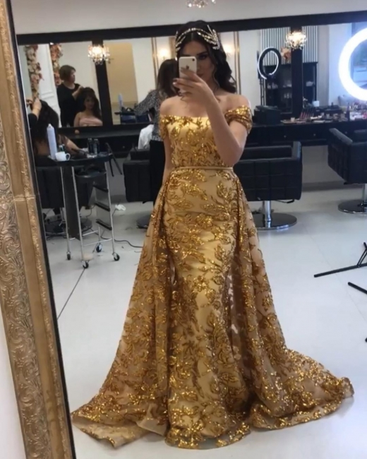 Gold evening dresses luxury | Long glitter prom dresses online