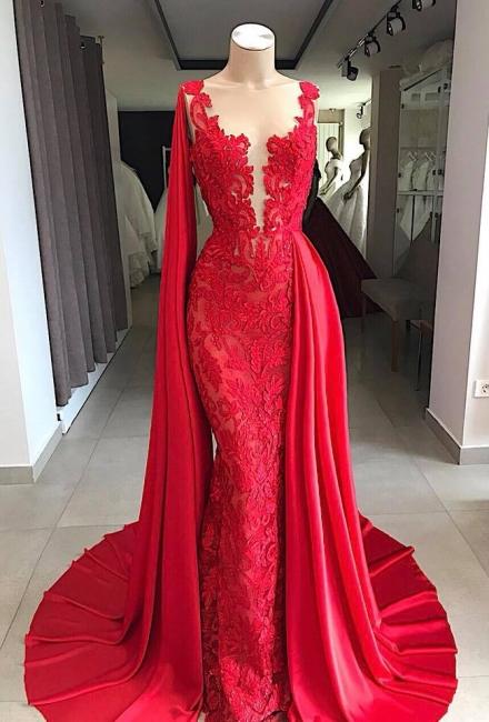 Elegante Abendkleider Lang Spitze | Rote Abendmoden Online Kaufen
