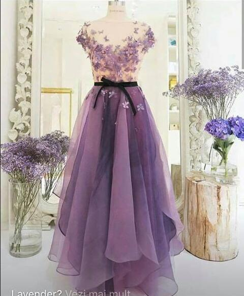 Sexy purple cocktail dresses long organza prom dresses cheap