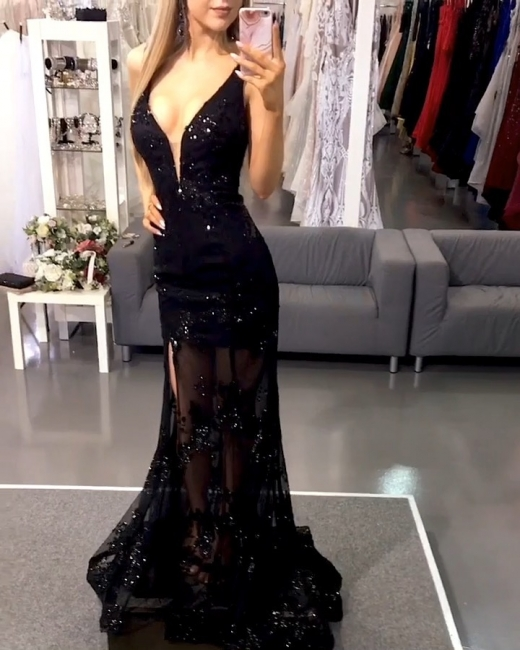 Black Evening Dresses Long Lace Floor Length Evening Wear Prom Dresses