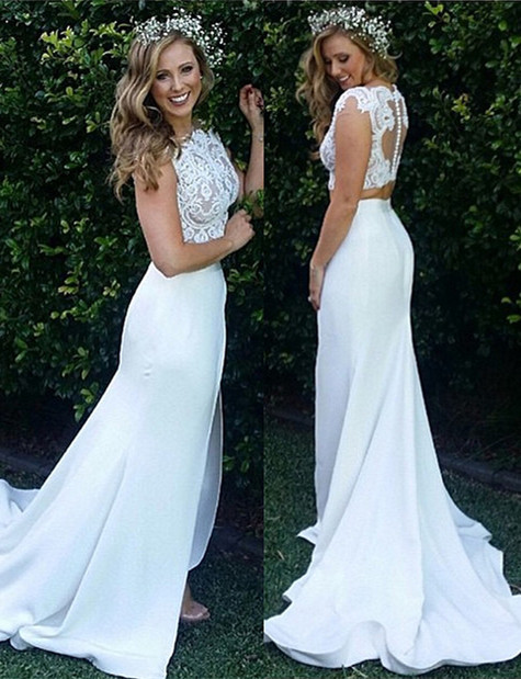 2 divider wedding dresses lace white cheap mermaid wedding gowns dresses registry office wedding