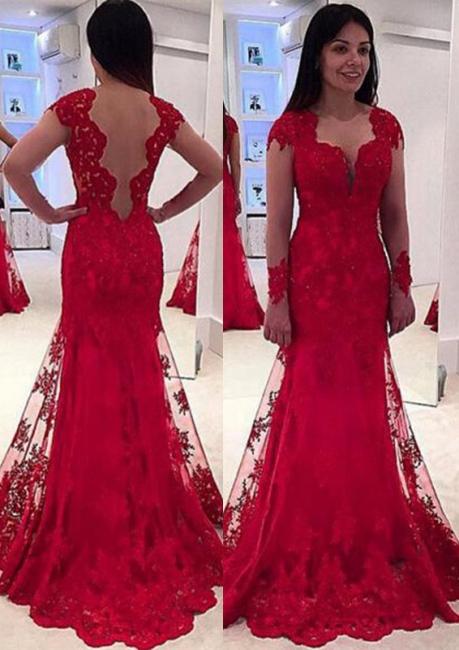 Rot Abendkleider Lang Günstig Mit Spitze Meerjungfrau Abschlussballkleider