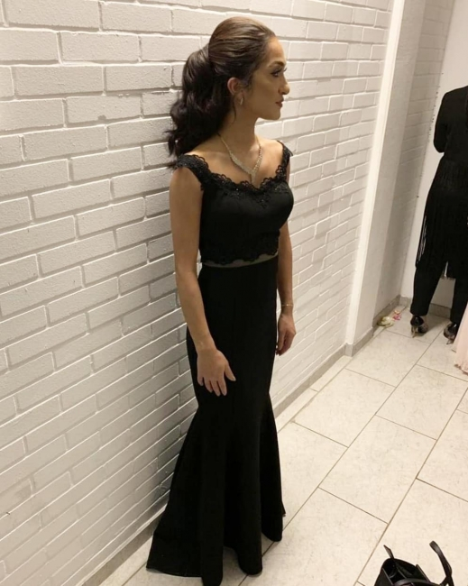 Black Evening Dresses Long | Cheap evening wear in two pieces