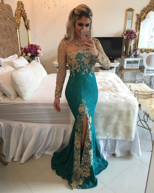Elegant evening dresses with sleeves | Lace evening wear gold