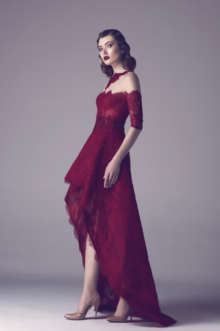 Wine Red Cocktail Dresses Lace With Sleeves Short Long Prom Dresses Party Dresses