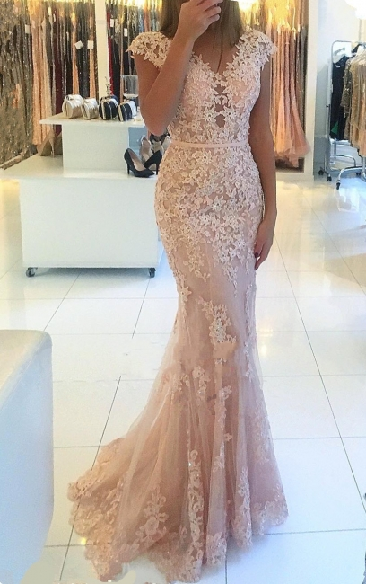 Elegante Rosa Abendkleider Lang Günstig Spitze Bodenlange Abiballkleider Abendmoden