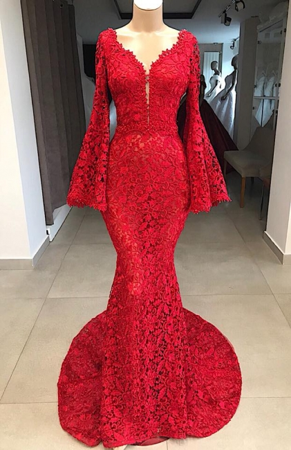 Fashion Evening Dresses Long Red Lace | Evening dress with sleeves