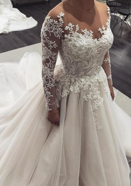 Fashion wedding dresses with sleeves | Wedding dresses lace sleeves cheap