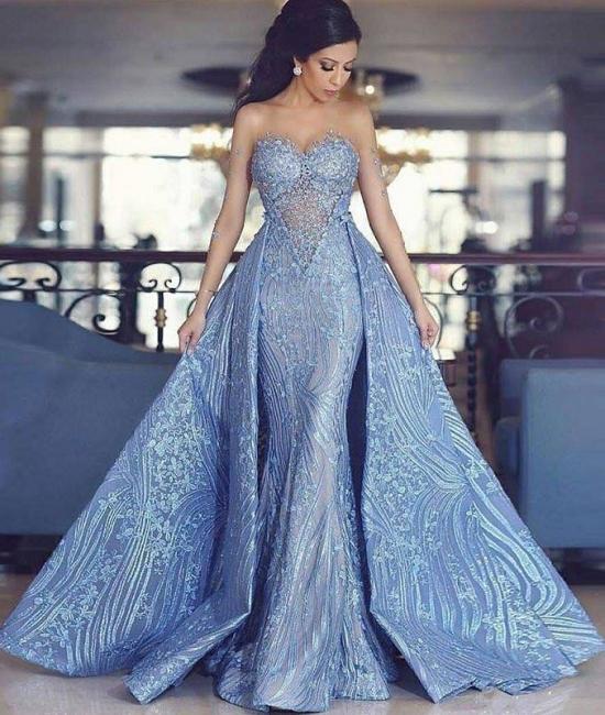 Luxury blue evening dress a line lace evening dresses cheap online