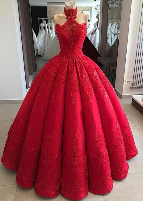 Luxury evening dresses long red | Princess prom dresses lace