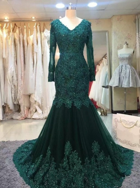 Chic green evening dresses with sleeves lace prom dresses online cheap