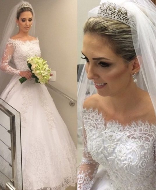 Simple wedding dress white lace long sleeves wedding dresses bridal fashion cheap