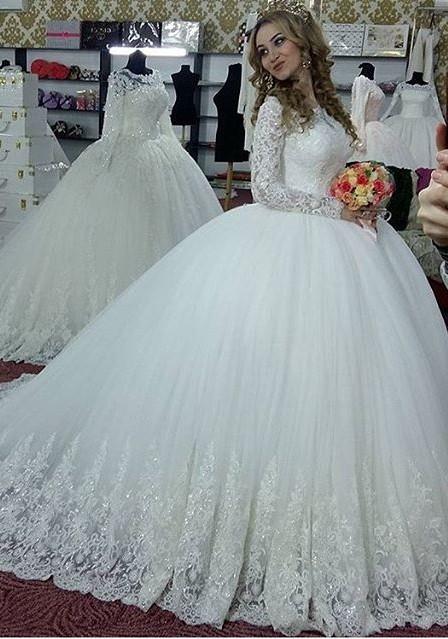 Designer Weiß Brautkleider Lang Ärmel Mit Spitze Prinzessin Tüll Brautmoden Hochzeitskleider