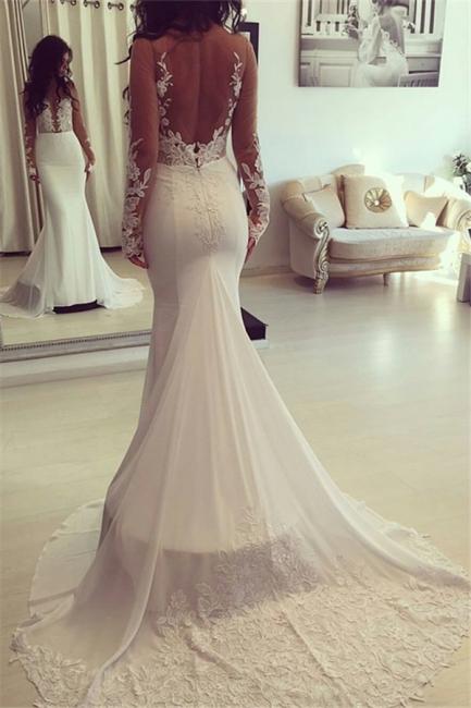 Elegant Lange Ärmel Brautkleider Spitze Meerjungfrau Brautmoden Hochzeitskleider