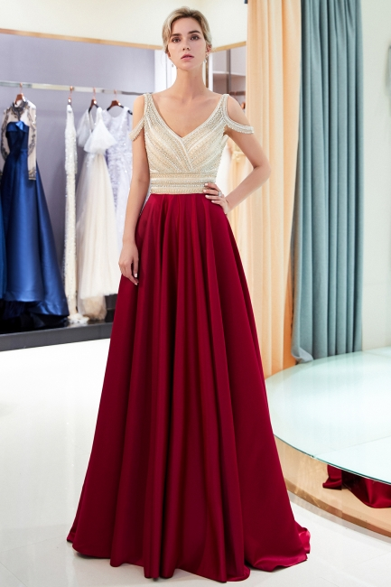 Buy elegant wine red evening dresses long chiffon beaded floor-length evening wear online