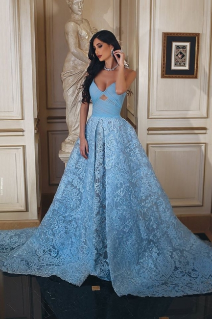 Blue Evening Dresses Long Lace A Line Heart Prom Dresses Prom Dresses