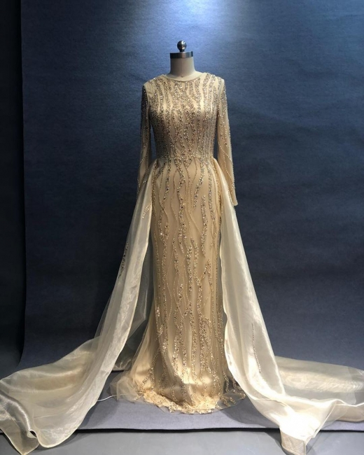 Luxury Evening Dresses Long Champagne | Evening wear evening dress with sleeves