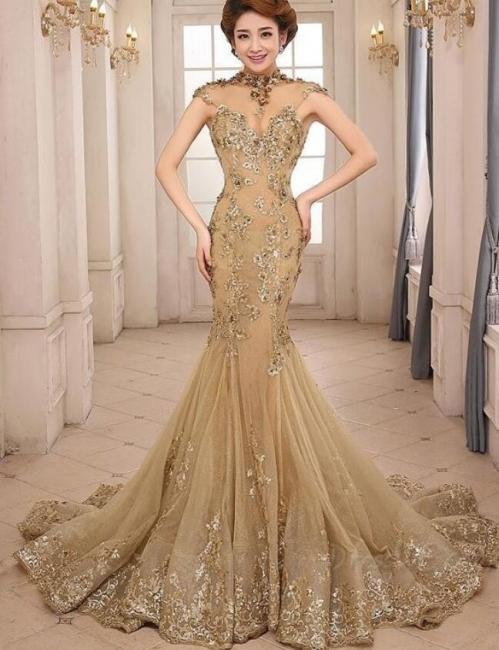 Günstig Abendkleider Gold Glitter | Lange Abiballkleider Spitze Kaufen