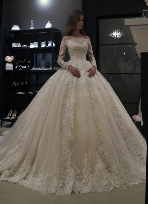 Elegant wedding dresses princess | Wedding dress with lace sleeves