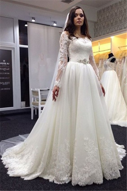 Simple wedding dresses with sleeves a line wedding dresses lace cheap