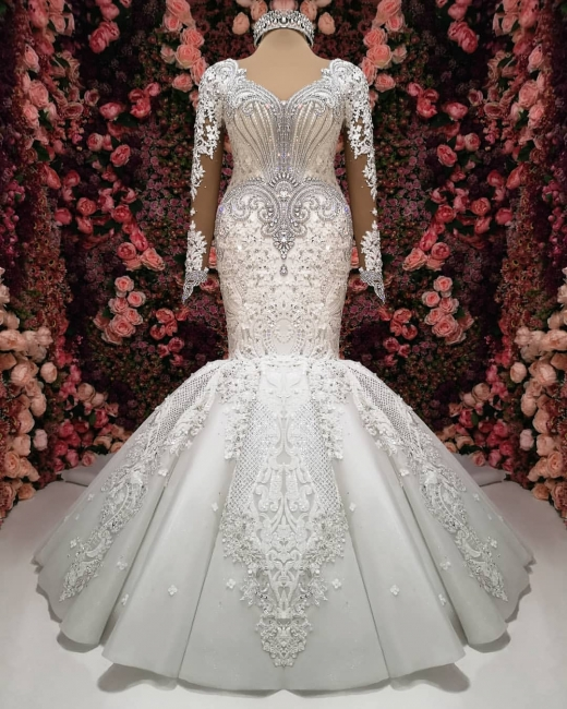 Luxury wedding dress with sleeves lace wedding dresses online