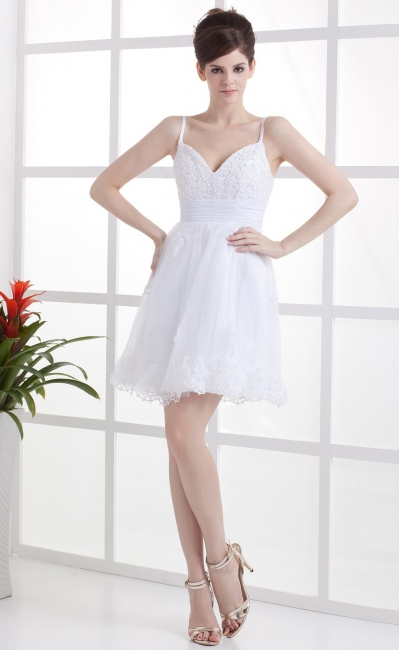 Schöne Weiß Hochzeitskleider Kurz Mit spitze Spaghetti Tüll Brautkleider Hochzeitsmoden