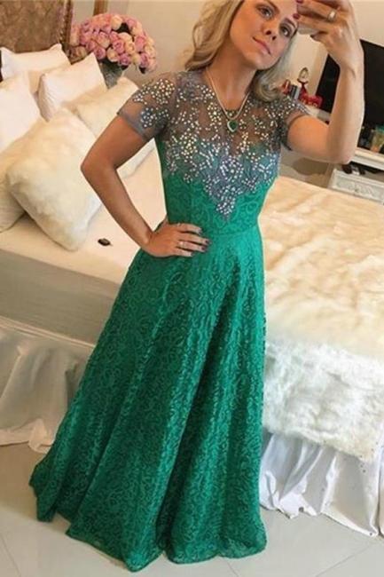 Evening dresses green glitter floor-length | Buy simple evening wear online