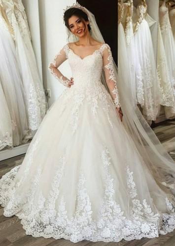 Designer Wedding Dresses Cream Long Sleeve Lace A Line Bridal Wedding Gowns