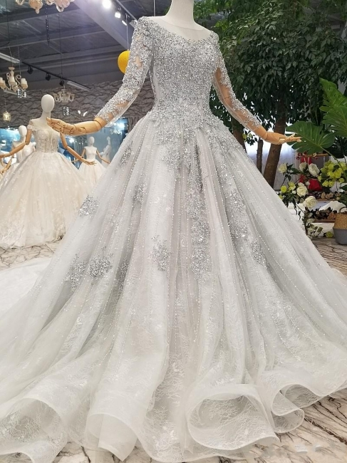 Fashion Silver Wedding Dresses With Sleeves Lace Wedding Dresses A Line Online