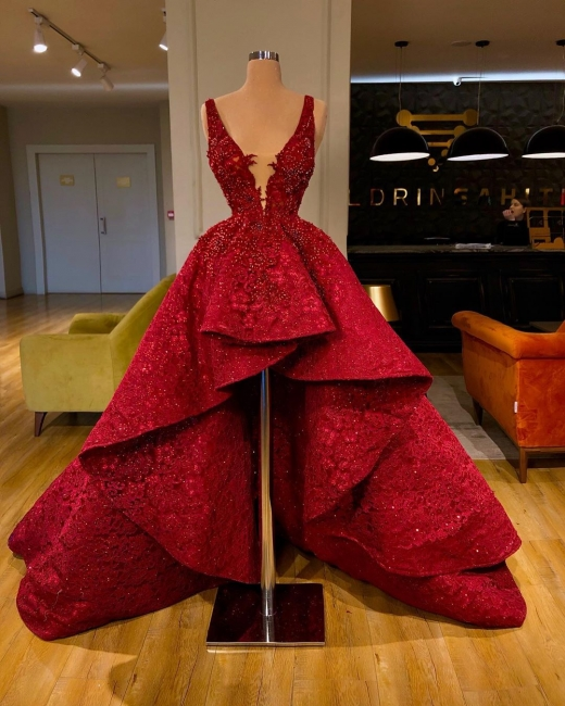 Luxury red lace cocktail dresses | Evening dresses short in front long behind