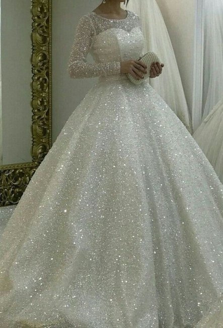 Elegant wedding dresses with glitter | A line wedding dress with sleeves