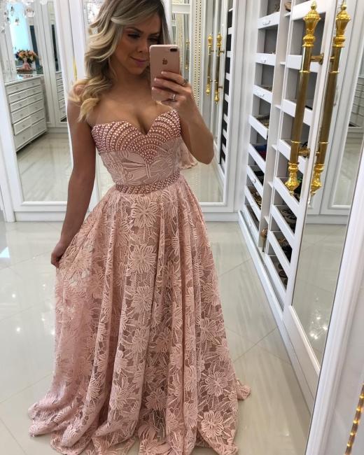 Pink evening dresses long cheap lace sheath dress prom dresses online