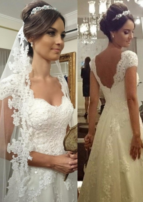 Cheap A Line Wedding Dresses With Lace Straps Order Wedding Dresses Online
